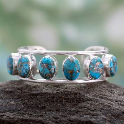 Sterling Silver Cuff Bracelet with Composite Turquoise Studs, 'Serene Beauty'