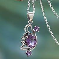 Amethyst pendant necklace, 'Mughal Romance' - Amethyst pendant necklace