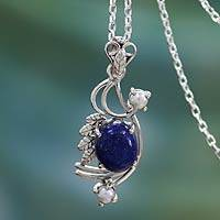 Cultured pearls and lapis lazuli pendant necklace, 'Mughal Romance' - Cultured pearls and lapis lazuli pendant necklace