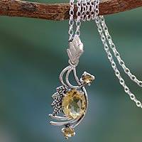 Citrine pendant necklace, 'Mughal Romance' - Citrine pendant necklace