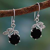 Onyx dangle earrings, 'Forbidden Fruit' - Onyx dangle earrings