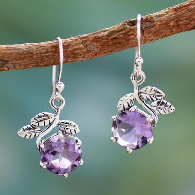 Amethyst dangle earrings, 'Forbidden Fruit' - Artisan Crafted Sterling Silver Amethyst Floral Earrings