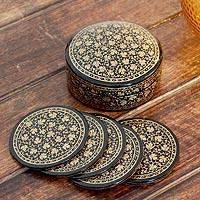 Papier mache coasters, 'Golden Maple' (set of 6) - Papier mache coasters (Set of 6)