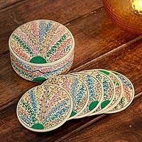Papier mache coasters, 'Srinagar Bouquet' (set of 6) - Papier mache coasters (Set of 6)