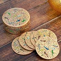 Papier mache coasters, 'Golden Srinagar Birds' (set of 6) - Papier mache coasters (Set of 6)