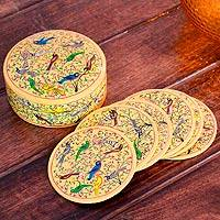 Papier mache coasters, 'Yellow Srinagar Birds' (set of 6) - Papier mache coasters (Set of 6)