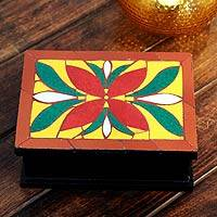 Mosaic decorative box, 'Poinsettia' - Mosaic decorative box