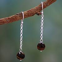 Tiger's eye dangle earrings, 'Lucky Pendulums' - Tiger's eye dangle earrings
