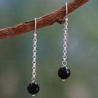 Onyx dangle earrings, 'Protection Pendulums' - Onyx dangle earrings