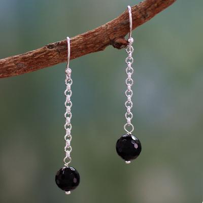 Onyx dangle earrings, 'Protection Pendulums' - Onyx dangle earrings