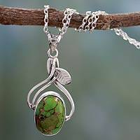 Sterling silver pendant necklace, 'Green Dew'