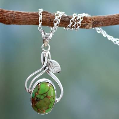 Sterling silver pendant necklace, 'Green Dew' - Fair Trade Sterling Silver Necklace with Composite Turquoise