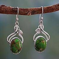 Sterling silver dangle earrings, 'Green Dew' - Handcrafted Sterling Silver Earrings from India