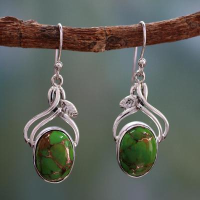 Sterling silver dangle earrings, 'Green Dew' - Handcrafted Sterling Silver Earrings from India