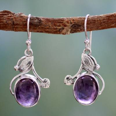 Amethyst dangle earrings, 'Impassioned Plum' - Amethyst dangle earrings