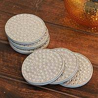 Bejeweled coasters, 'Silver Glitz' (set of 6) - Bejeweled coasters (Set of 6)