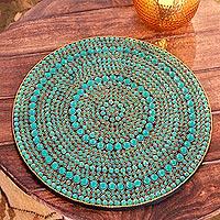 Bejeweled vanity tray, 'Aqua Glitz' - Bejeweled vanity tray