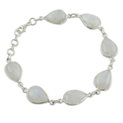 Moonstone and Sterling Silver Bracelet Jewelry from India