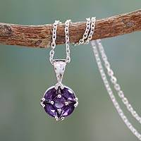 Amethyst pendant necklace, 'Jaipur Star' - Amethyst pendant necklace