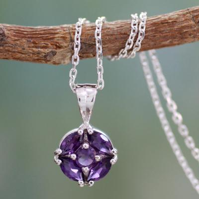 Amethyst pendant necklace, 'Jaipur Star' - Amethyst pendant necklace