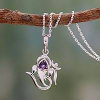 Amethyst pendant necklace, 'Mystical Ganesha' - Sterling Silver and Amethyst Necklace Hindu Jewelry