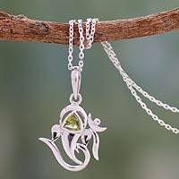 Peridot pendant necklace, 'Mystical Ganesha' - Peridot and Sterling Silver Animal Themed Necklace