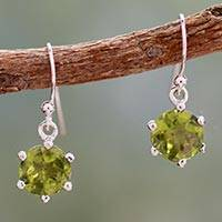 Peridot dangle earrings, 'Lime Solitaire'