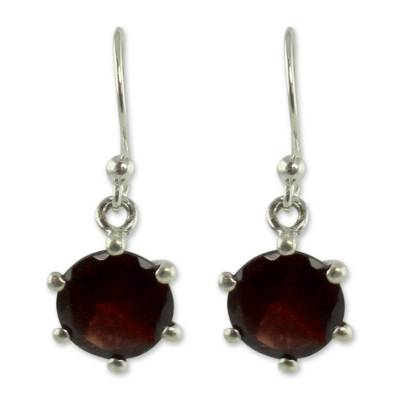Handcrafted Sterling Silver and Garnet Earrings