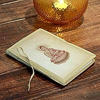 Journal, 'Poetic Buddha' - Artisan Crafted Buddhism Journal 48 Blank Handmade Paper
