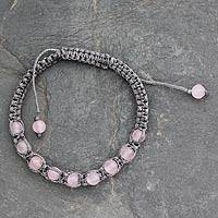 Rose quartz Shambhala-style bracelet, 'Love and Prayer' - Bohemian Rose Quartz Shamballa Bracelet from India