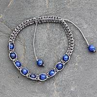 Lapis lazuli Shambhala-style bracelet, 'Truth and Prayer' - Royal Blue Lapis Lazuli Shamballa from India