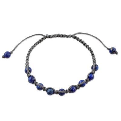 Lapis lazuli Shambhala-style bracelet, 'Truth and Prayer' - Lapis lazuli Shambhala-style bracelet