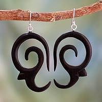 Ebony dangle earrings, 'Wild Symphony'