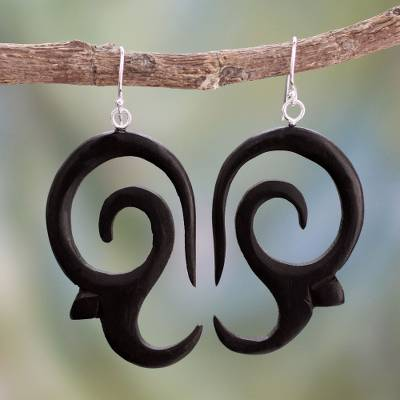 Ebony dangle earrings, 'Wild Symphony' - Ebony dangle earrings