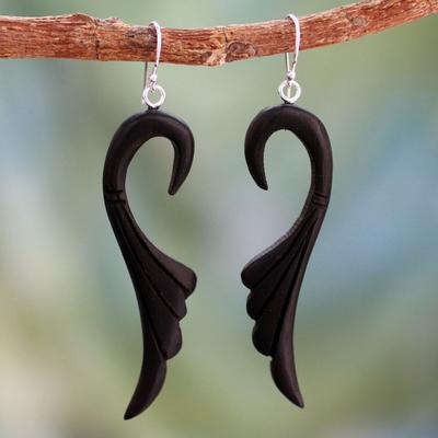 Ebony dangle earrings, 'Graceful Leaves' - Ebony Wood Earrings Carved by Hand