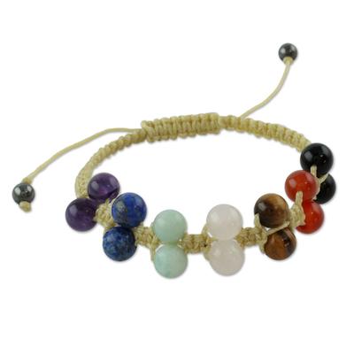 Gemstone chakra bracelet, 'Inner Balance' - Gemstone chakra bracelet