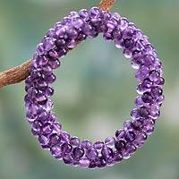 Amethyst beaded stretch bracelet, 'Love Song' - Amethyst beaded stretch bracelet