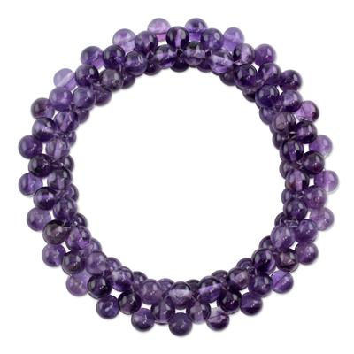 Amethyst beaded stretch bracelet, 'Love Song' - Amethyst beaded stretch bracelet