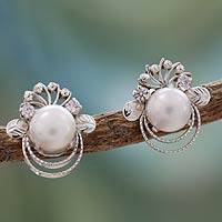 Cultured pearl button earrings, 'Grand Romance'