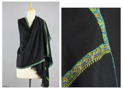 Wool shawl, 'Ebony Garden' - Wool shawl