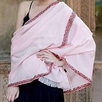Wool shawl, 'Shy Pink' - Wool shawl