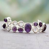 Amethyst link bracelet, 'Bubbling Light'