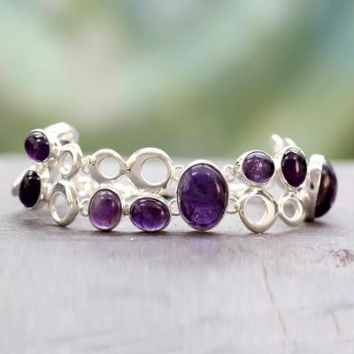 Amethyst link bracelet, 'Bubbling Light' - Women's Amethyst Link Bracelet 925 Sterling Silver