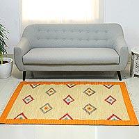 Wool dhurrie rug, 'Dancing Diamonds' (4x6) - Wool dhurrie rug