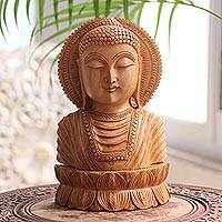 Wood sculpture, 'Serene Buddha I'