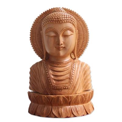 Wood sculpture, 'Serene Buddha I' - Wood sculpture