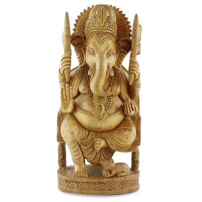 Wood sculpture, 'Blessed Ganesha I' - Wood sculpture