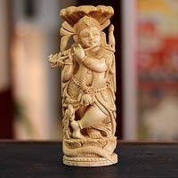 Wood sculpture, 'Krishna and Nag' - Wood sculpture
