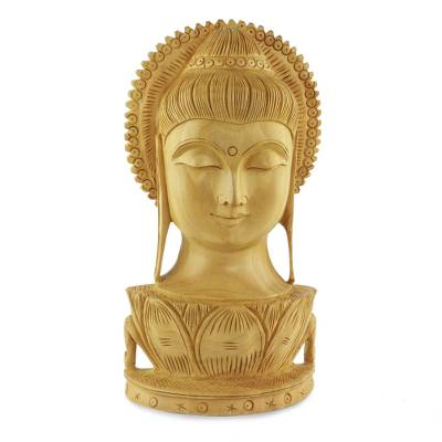 Wood sculpture, 'Serene Buddha II' - Wood sculpture