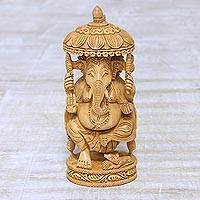 Wood sculpture, 'Blessed Ganesha II'